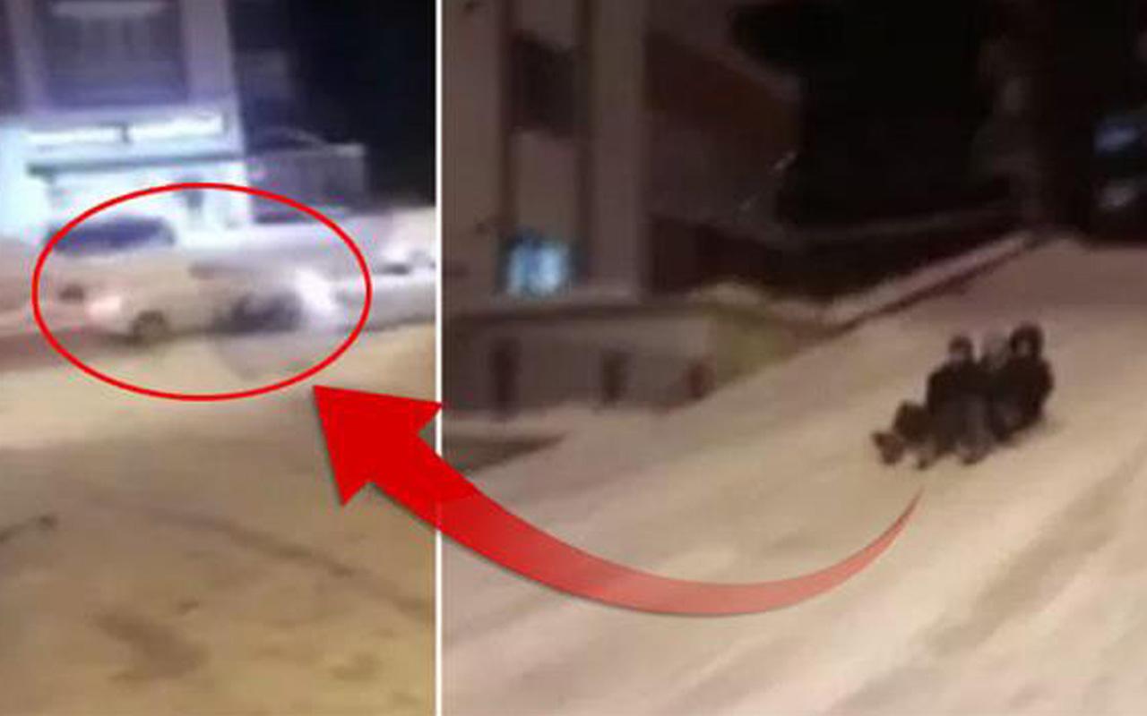 Giresun'da kayak yapan gençlere otomobil çarptı