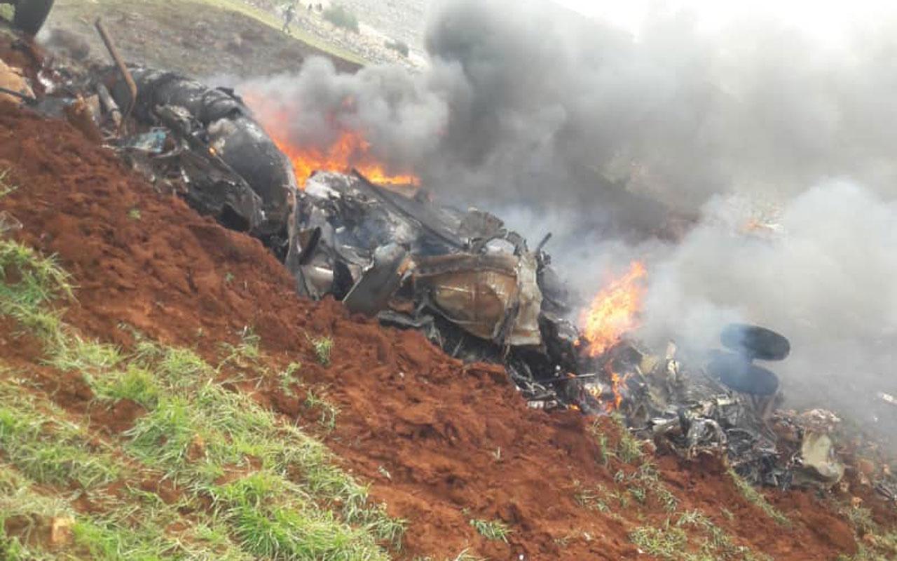 İdlib'te Esed rejimine ait askeri helikopter düşürüldü