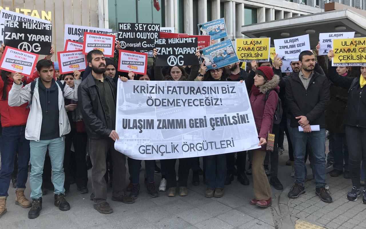İBB önünde ulaşım zammı protestosu