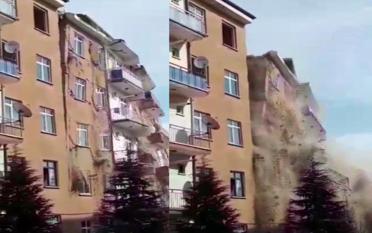 Elazığ'da 4.2'lik depremde hasarlı 6 katlı bina böyle çöktü