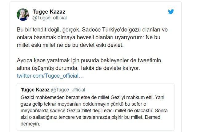 Gezi davası için Tuğçe Kazaz sansasyon yaratan bir paylaşım yaptı