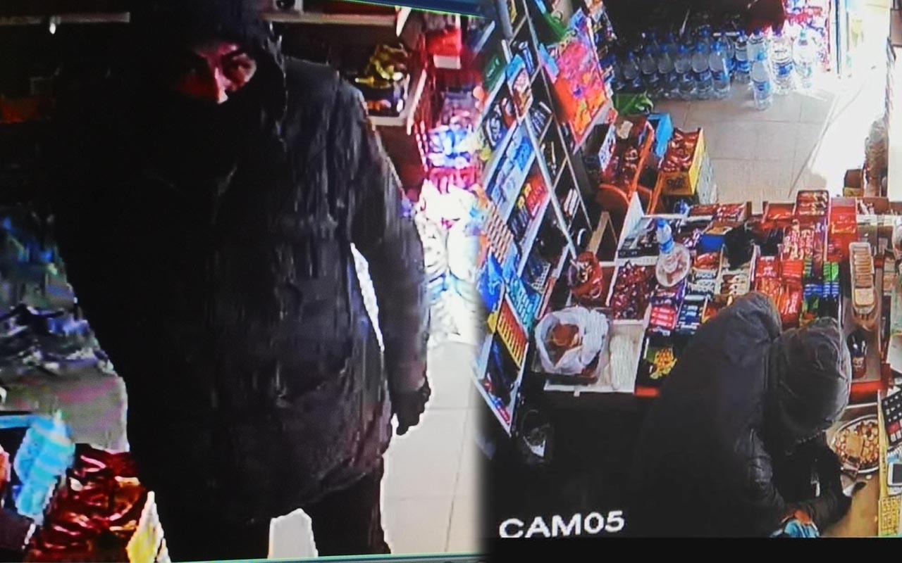 Pendik'te eli bıçaklı hırsız marketteki bütün paraları alarak kayıplara karıştı