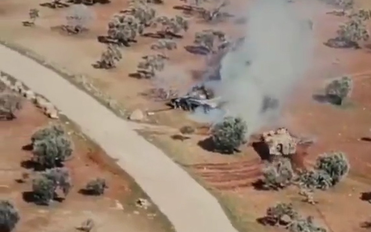 Suriye'de şok görüntüler! 15 tonluk zırhlı araç ile 45 tonluk tank karşı karşı geldi