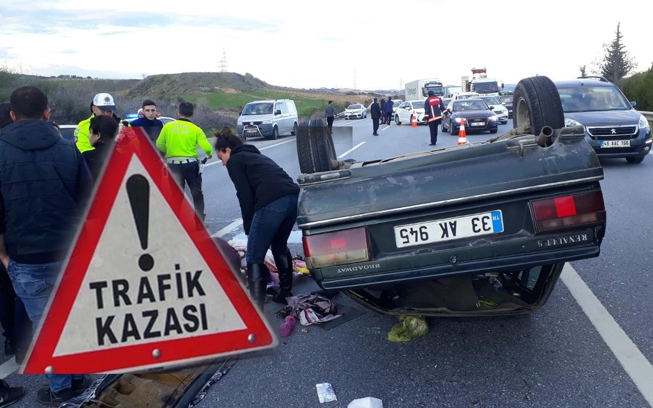 Mersin'de otomobil kamyonete çarpıp takla attı 7 kişi yaralandı