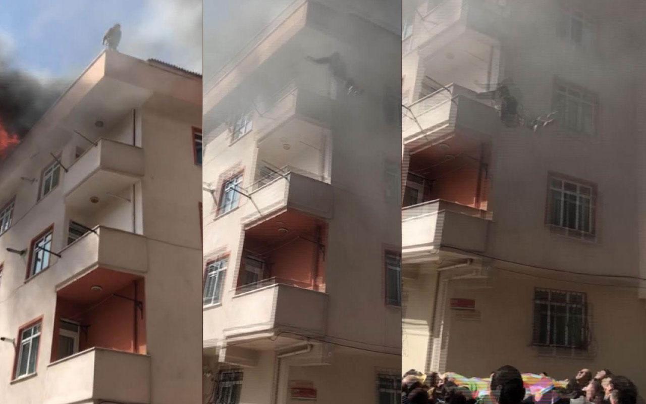 Dehşet verici olayın adresi Kağıthane! Yangın yüzünden çatıdan aşağı atladı