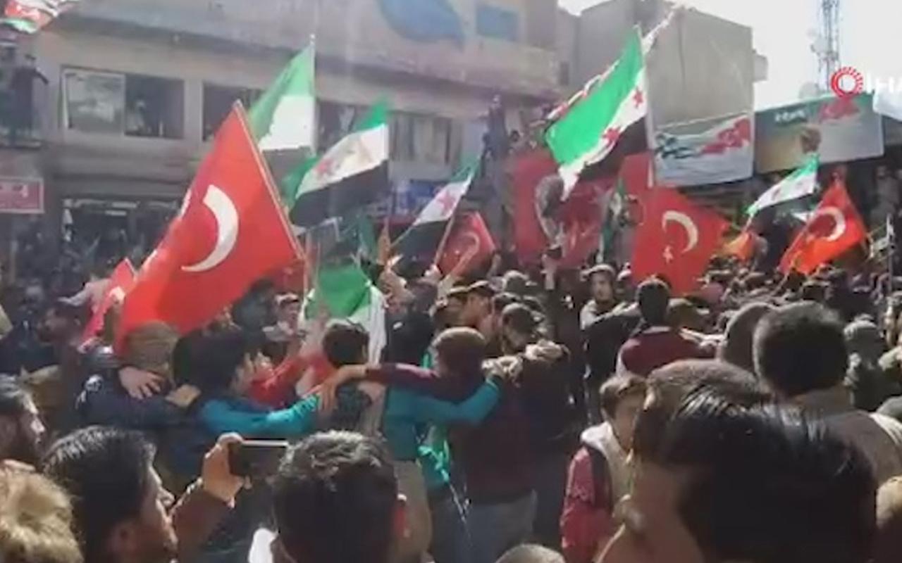 Suriye Azez'de Mehmetçiğe destek mitingi düzenlendi
