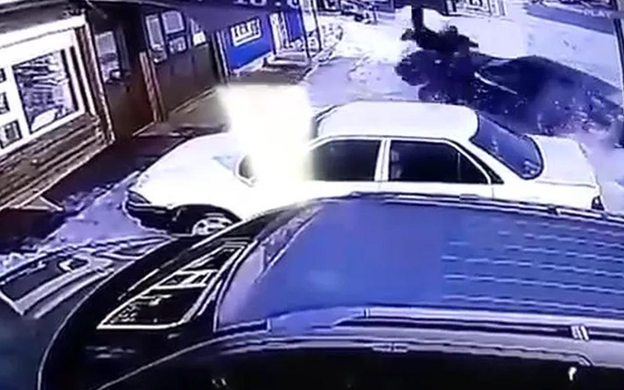 Rusya'da alkollü sürücü dehşet saçtı! Yayayı metrelerce havaya savurdu