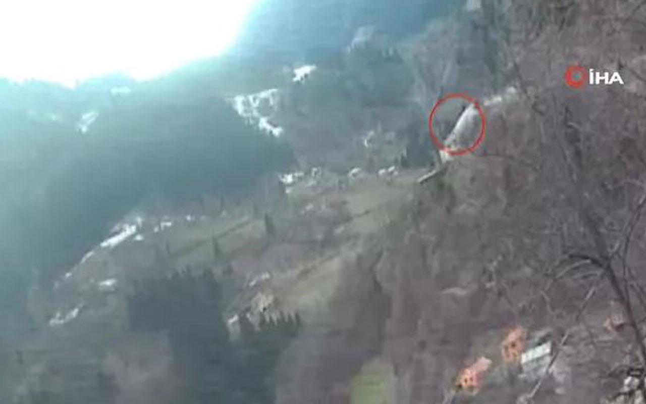 TIR'ın Zigana Dağı'nda aşağı uçtuğu anlar kamerada