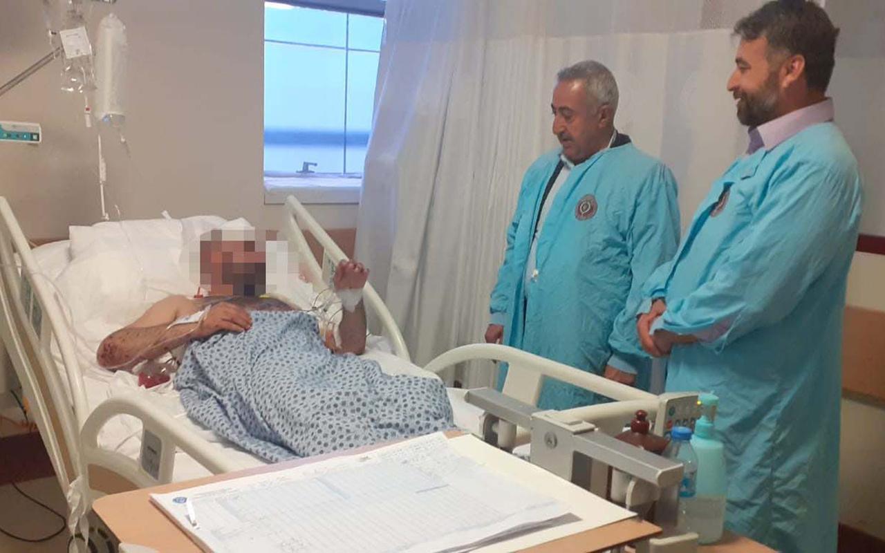 Teslim olan terörist hastanede babasıyla buluştu
