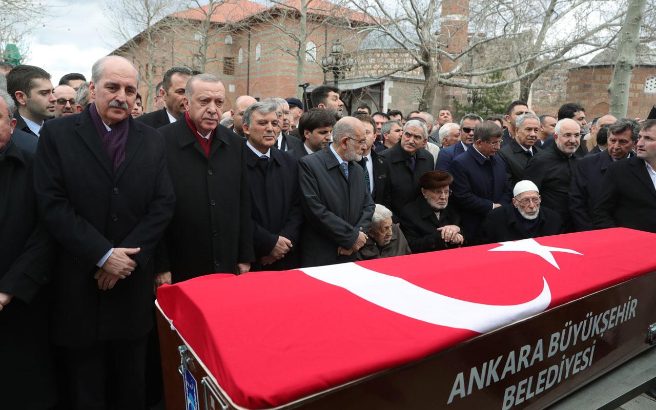 Cumhurbaşkanı Erdoğan ve Abdullah Gül Şevket Kazan'ın cenaze töreninde saf tuttu