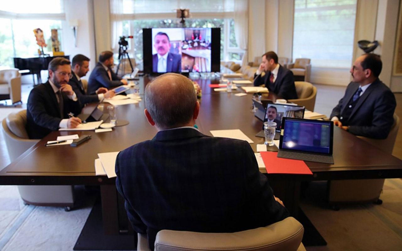 Erdoğan bakanlarla koronavirüs ile ilgili gelişmeleri video konferansla görüştü