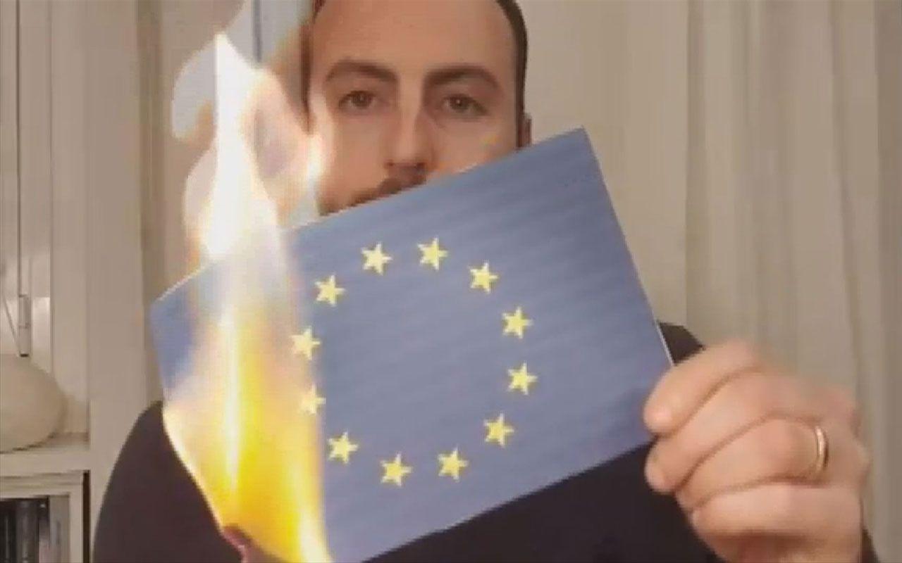 İtalya Avrupa Birliği bayrağını yakıyor İngiltere'den tüyler ürperten itiraf