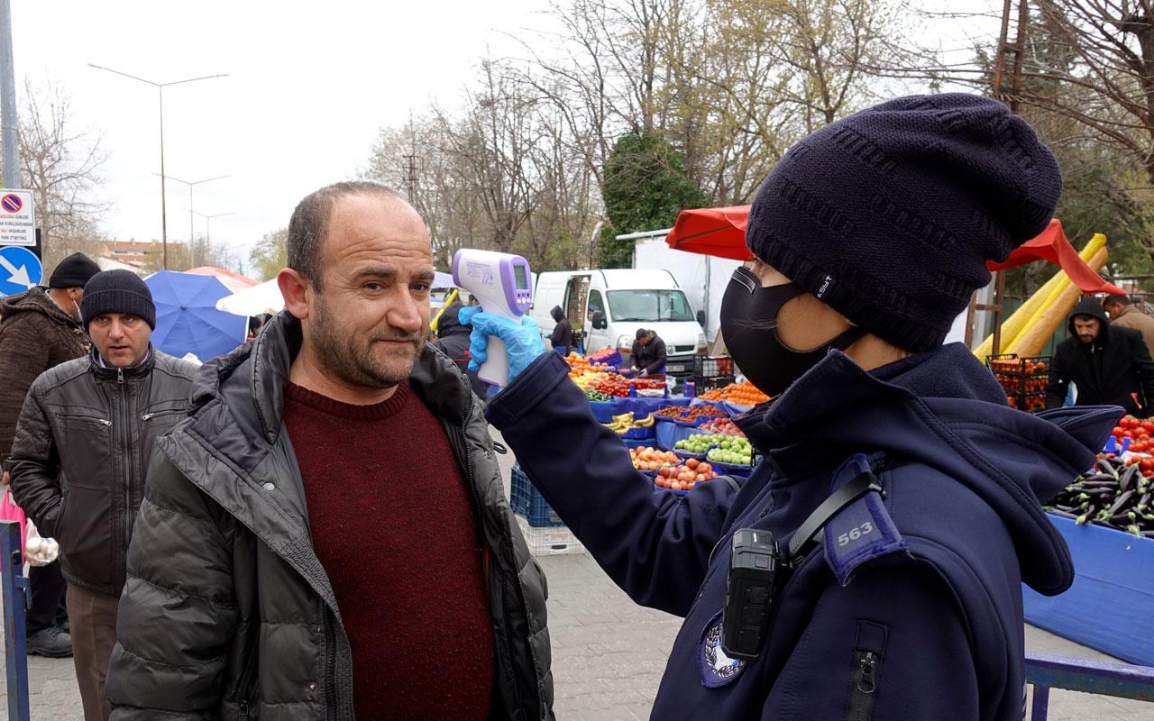Kırklareli'de vatandaşlar pazara ateşleri ölçülerek alınmaya başlandı