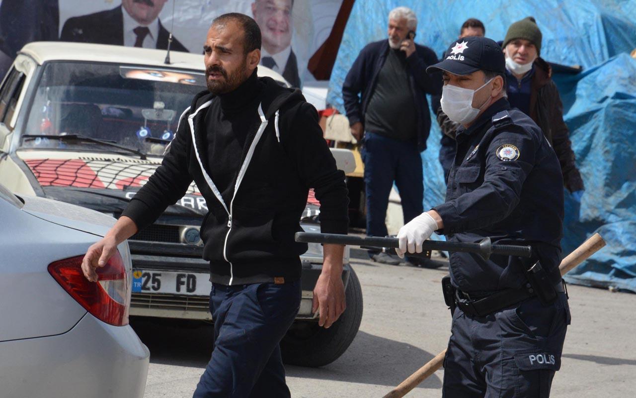 Erzurum'da pazarcıların yer kavgası karakolun önüne kadar taşındı