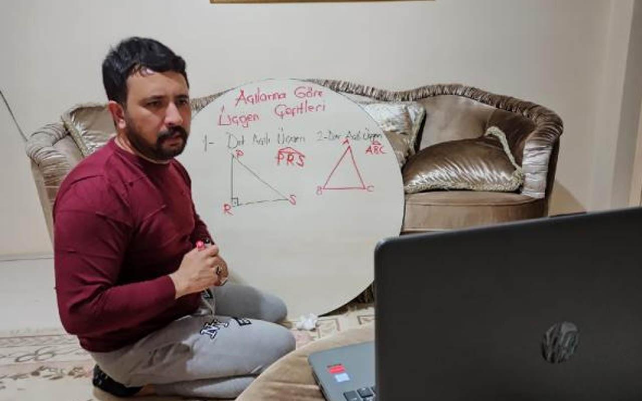 Iğdır'da ilkokul öğretmeni yer sofrasını tahta yaparak ders anlatıyor