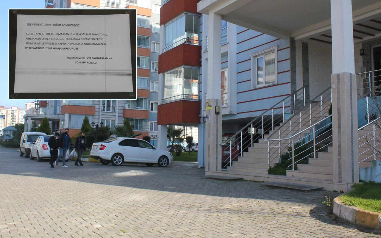 Sinop'ta sağlık çalışanları için yazılan çirkin yazıya Ordu'dan manidar yanıt