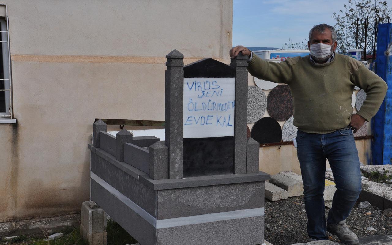 Gaziantep'te mermer işçisi 'Evde kal' çağrısını mesleğine yansıttı