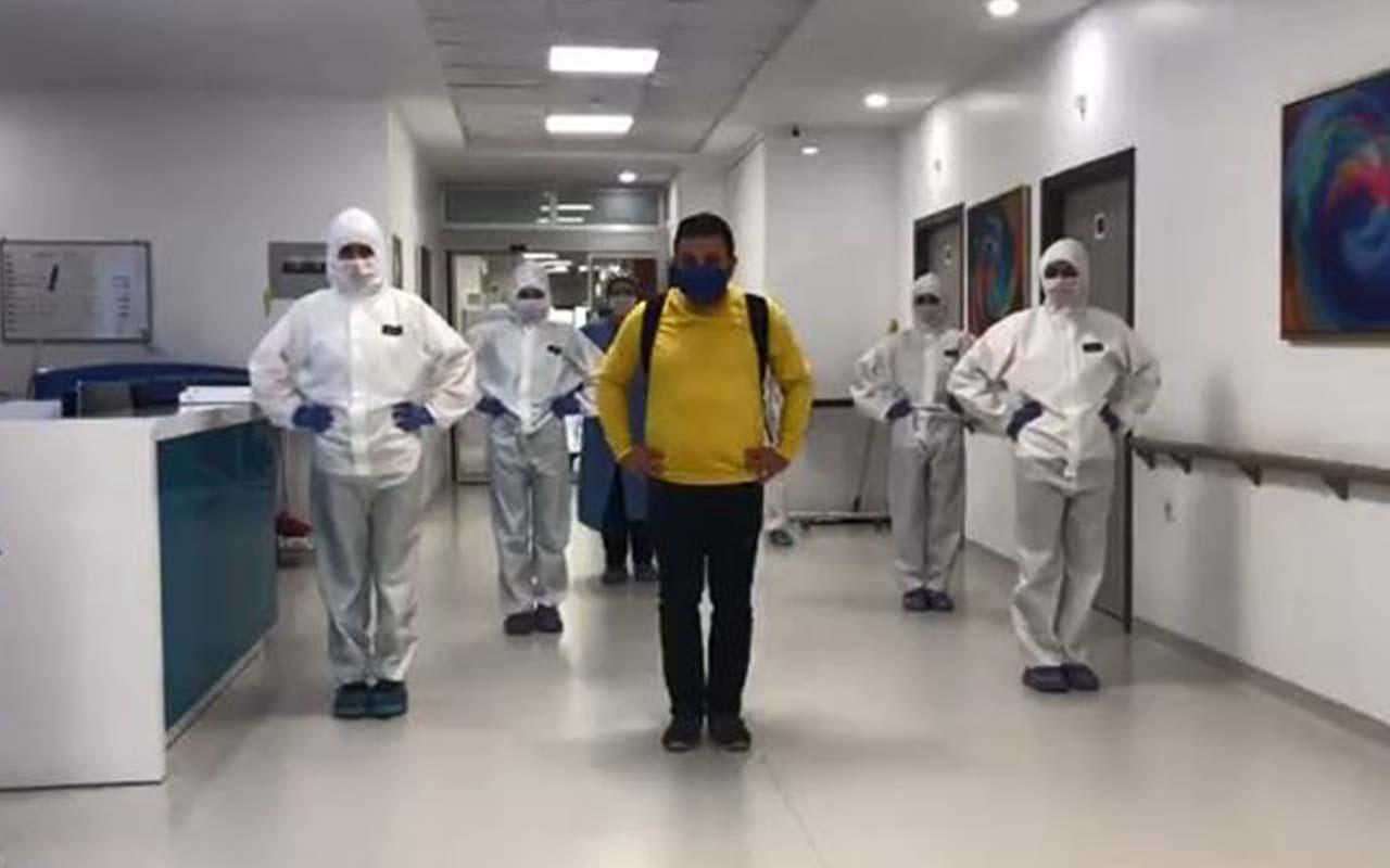 Kırklareli'nde koronavirüsü yendi penguen dansıyla taburcu oldu