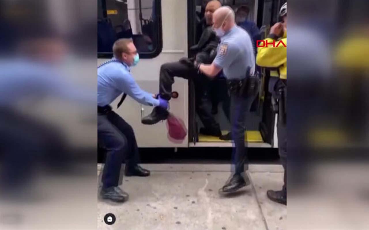 Maskesiz otobüse binen adama polis müdahalesi