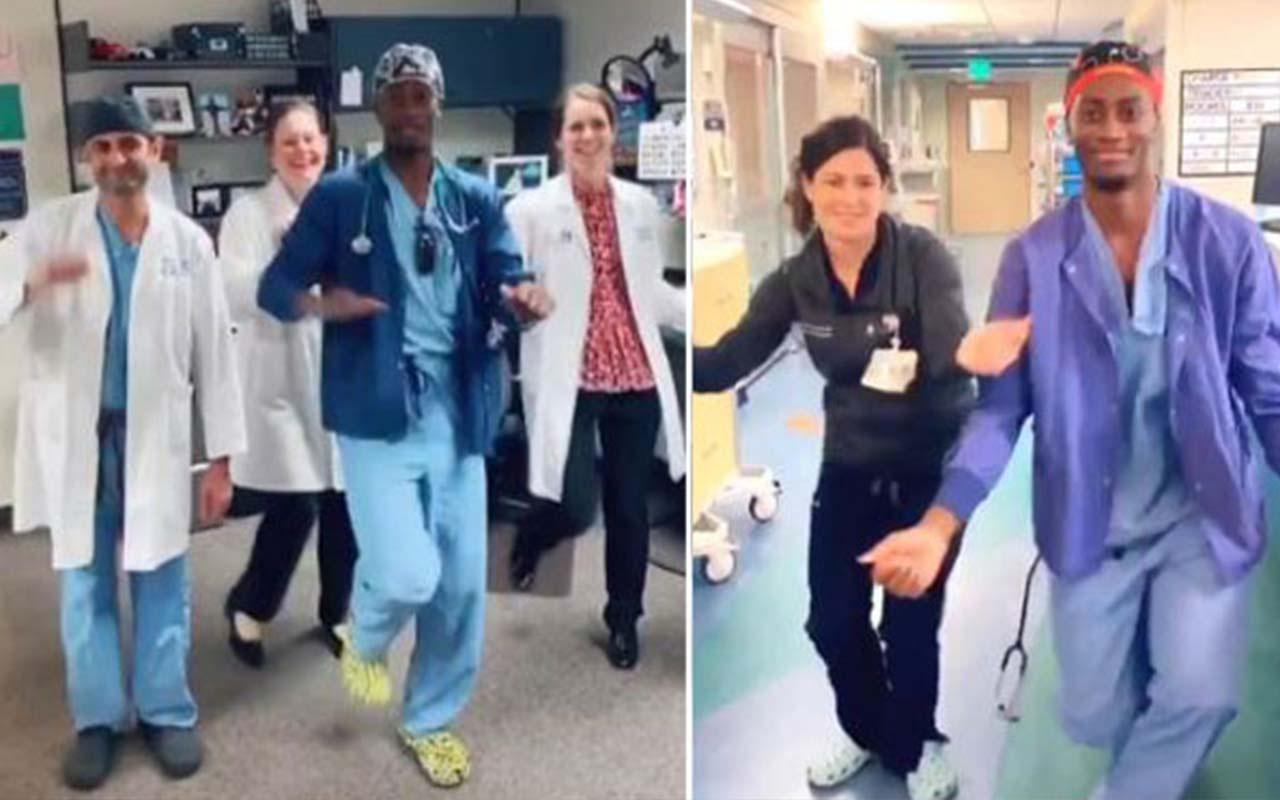 Doktordan sağlık çalışanlarına danslı destek