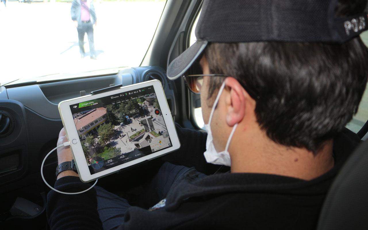 Tokat'ta drone ile sosyal mesafe kontrolü