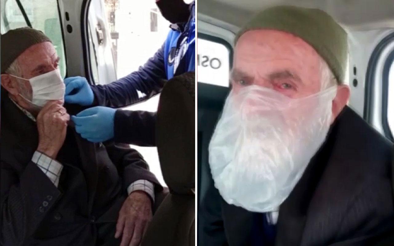 Poşeti maske gibi takıp sokağa çıkan yaşlı adamın ihtiyaçlarını belediye karşıladı