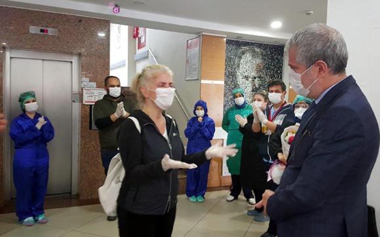 Zonguldak'ta koronavirüs zaferini ağlayıp eşine sarılarak kutladı