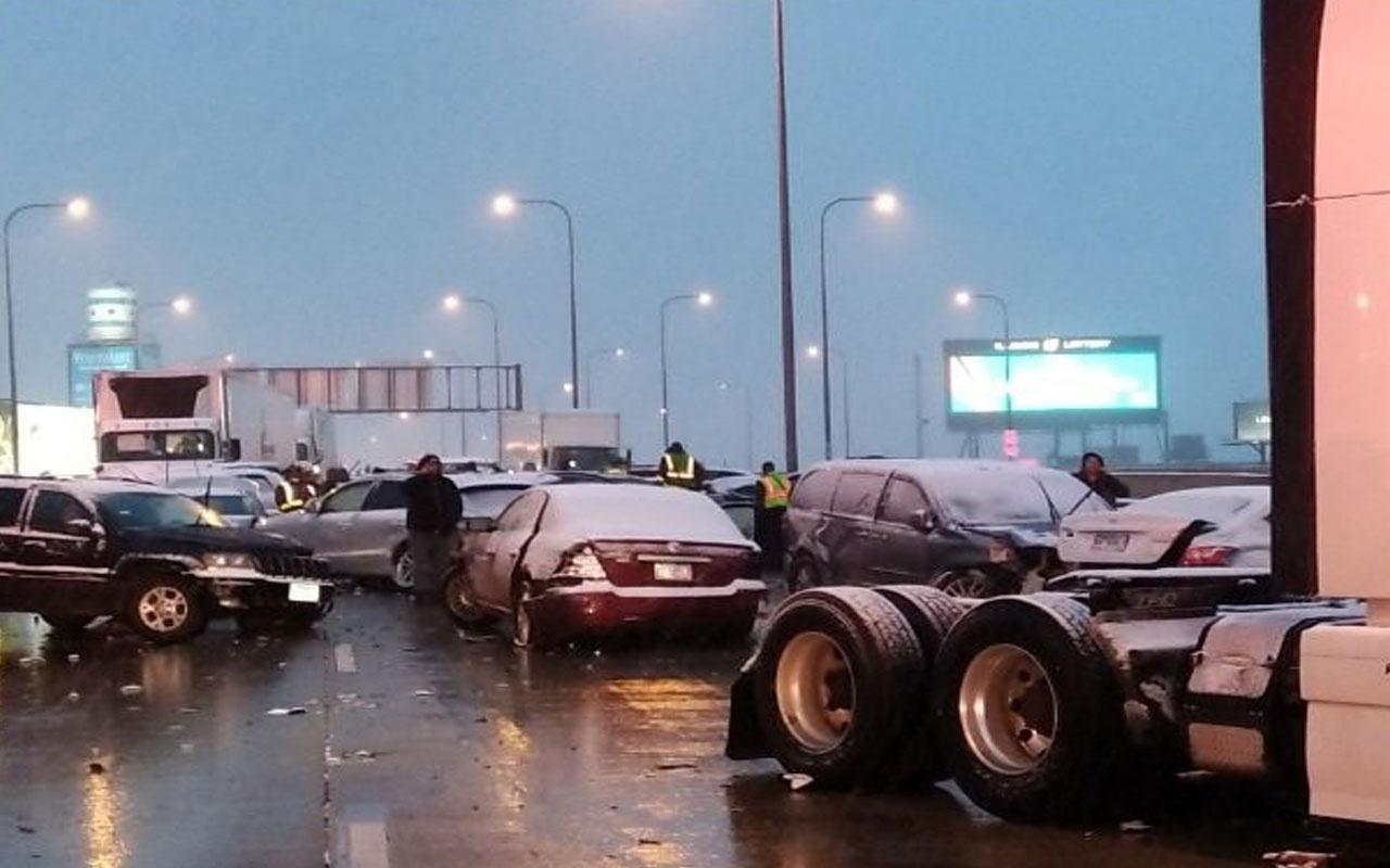 ABD'de ortalık savaş alanına döndü: Tam 60 araç birbirine girdi!
