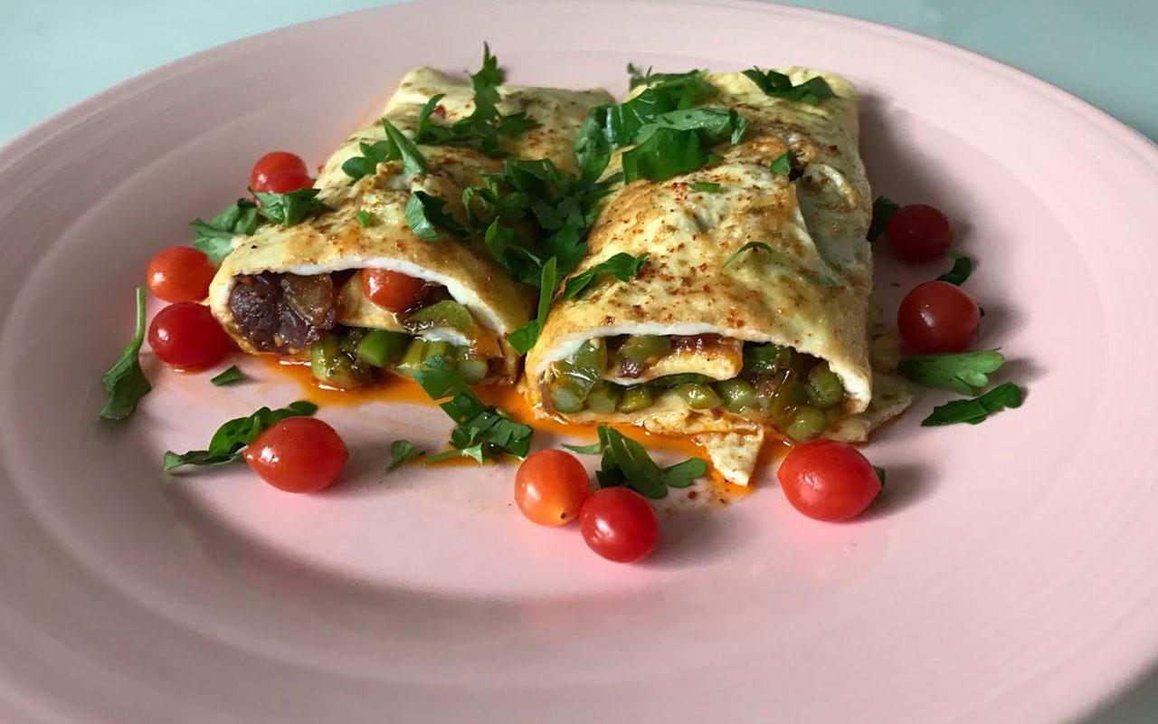 Sebzeli rulo omlet nasıl yapılır oldukça pratik!