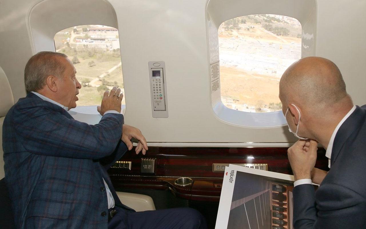 Cumhurbaşkanı Erdoğan İstanbul'a yapılan 2 korona hastanesini havadan denetledi