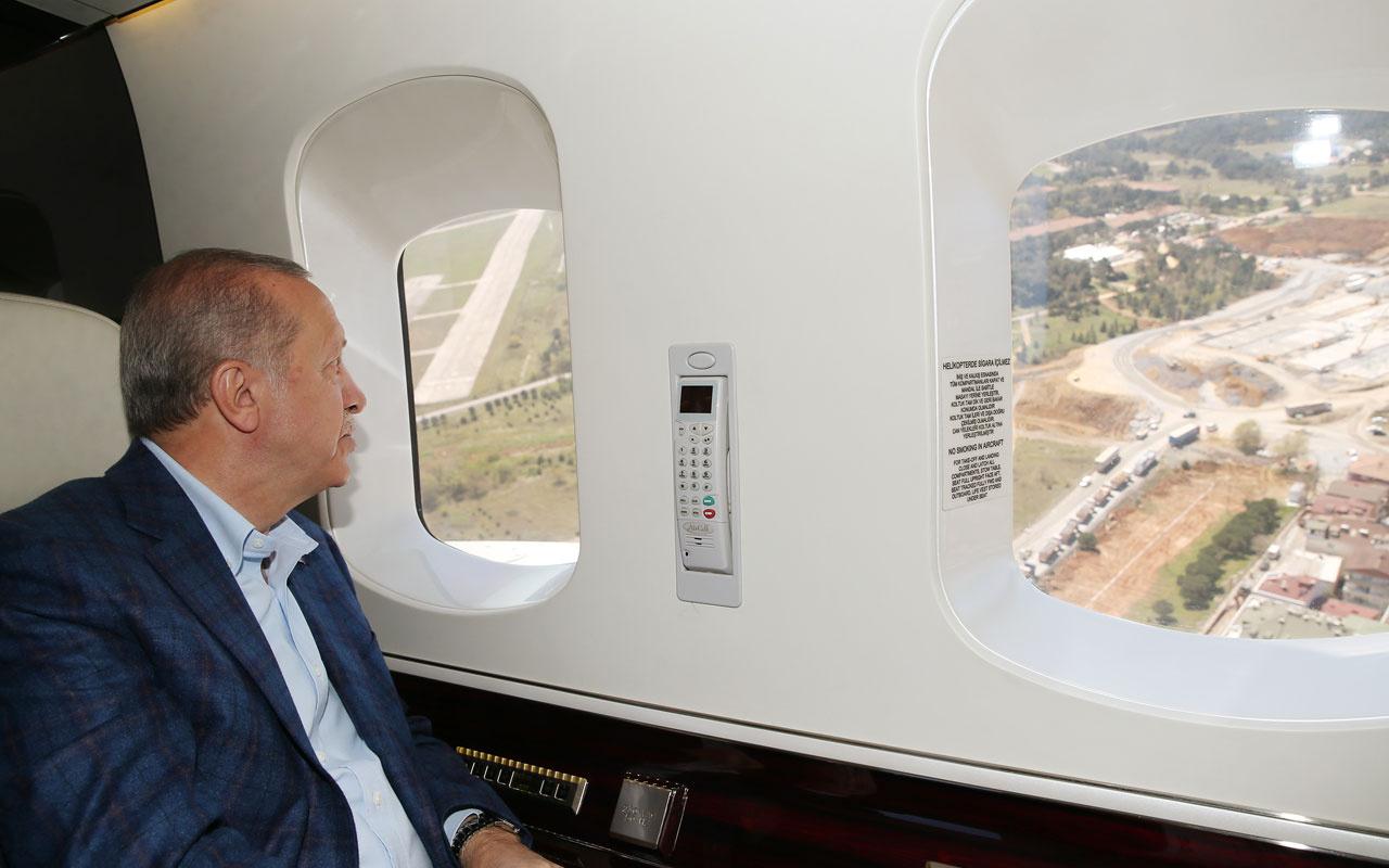 Cumhurbaşkanı Erdoğan yapımı devam eden hastaneleri havadan inceledi
