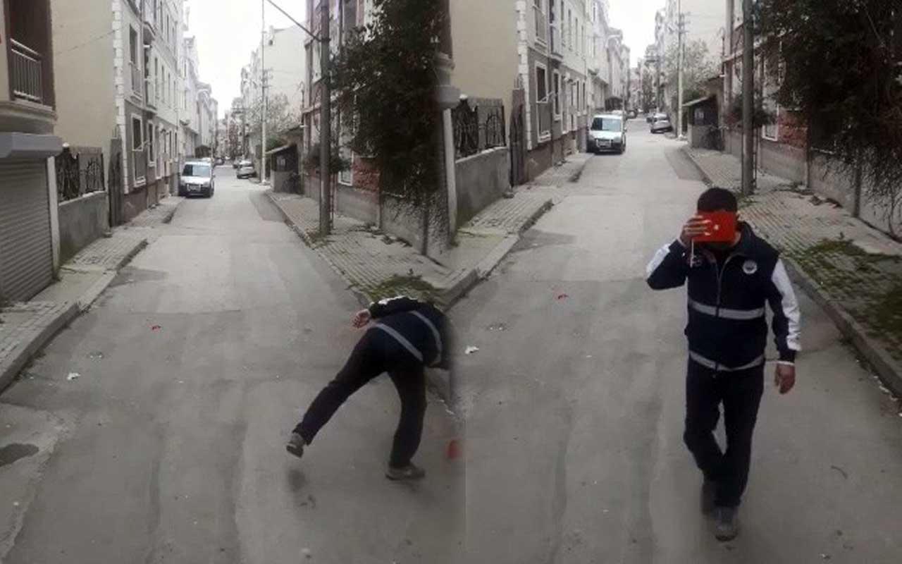 Bursa'da temizlik görevlisi yerdeki Türk bayrağını öperek aldı