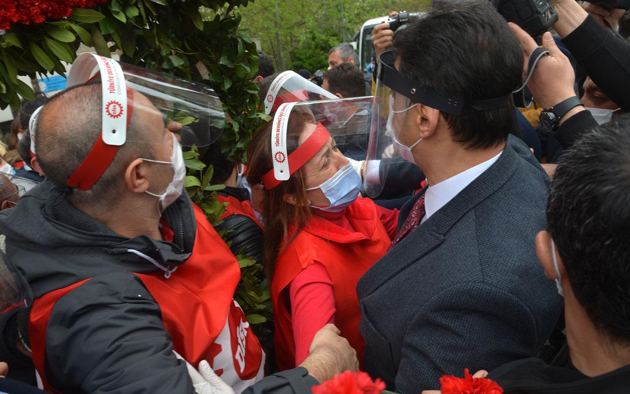 DİSK Başkanı Arzu Çerkezoğlu ile polis müdürü arasındaki diyaloglar kamerada
