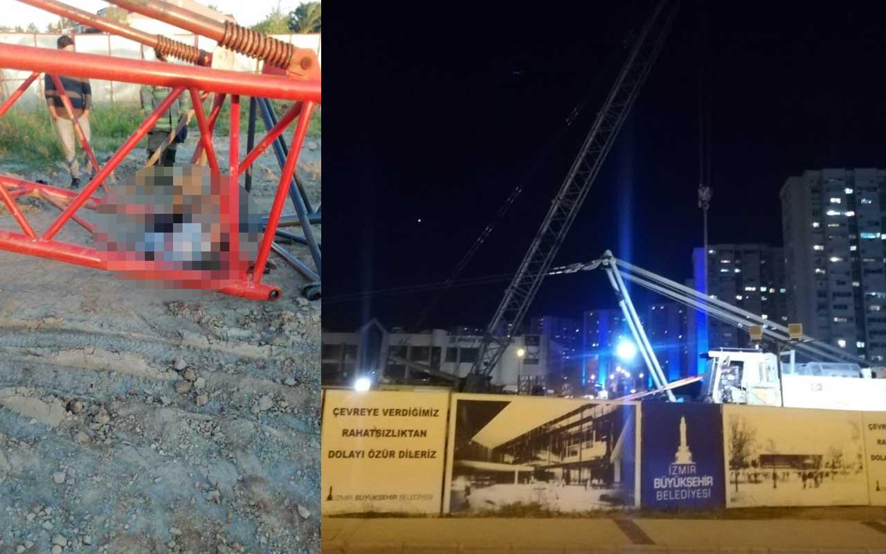İzmir'de devrilen vincin altında kalan işçi hayatını kaybetti