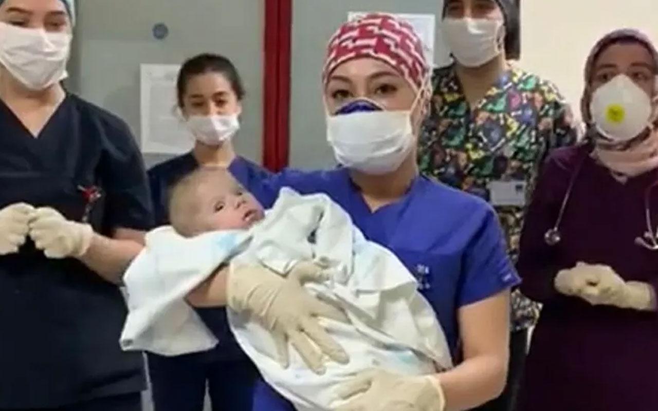 Kütahya'da koronavirüsü yenen 5 aylık mucize bebek taburcu oldu