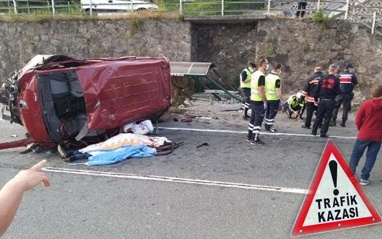 Trabzon'da devrilen minibüste acı bilanço: 1 ölü 2 yaralı