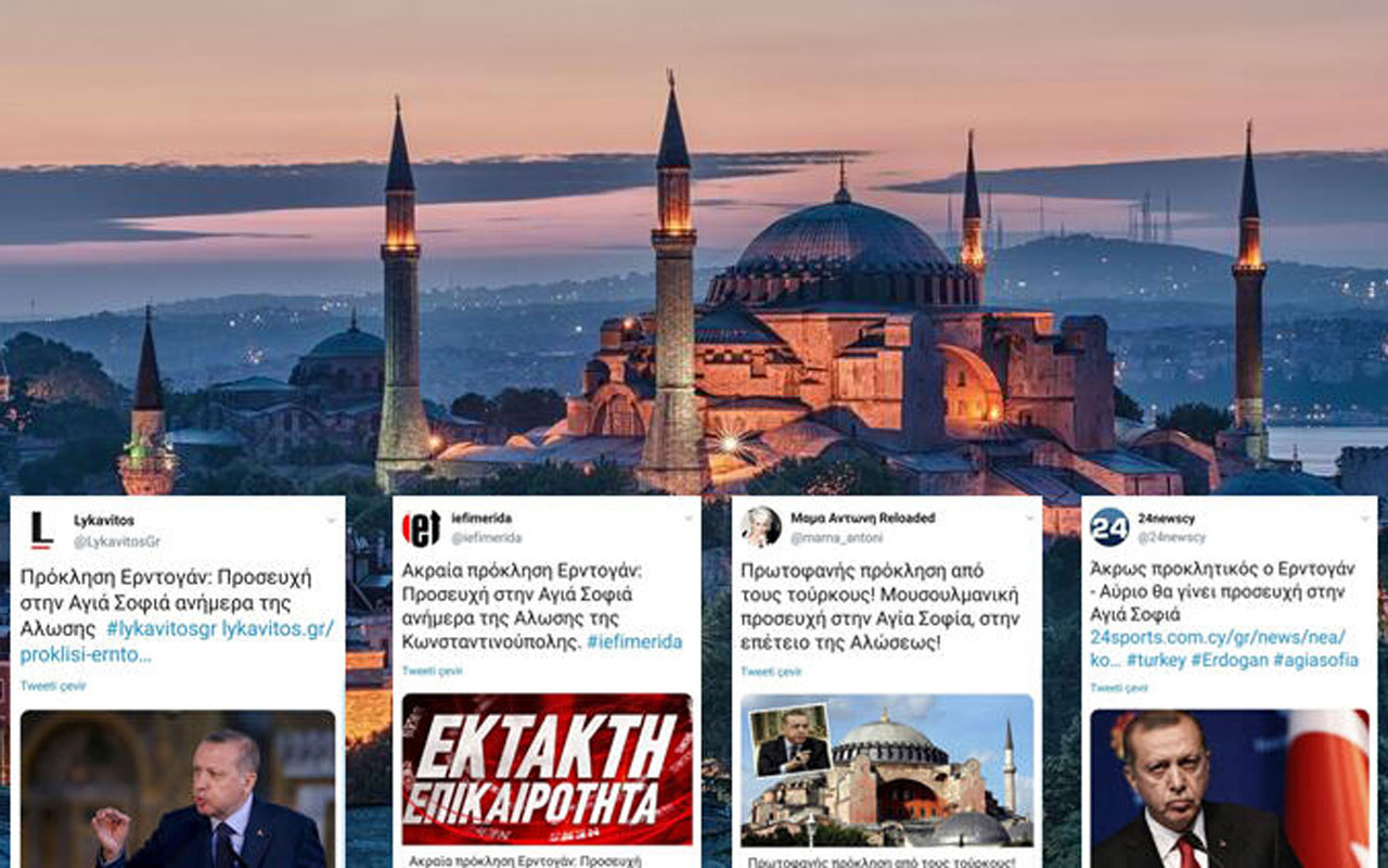 """Erdoğan """"Ayasofya'da Fetih Suresi okunacak"""" dedi Yunanlılar kudurdu"""