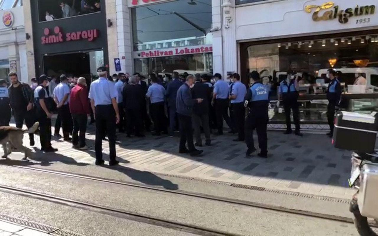 İstiklal Caddesinde Beyoğlu ve İBB zabıtaları arasında gerginlik