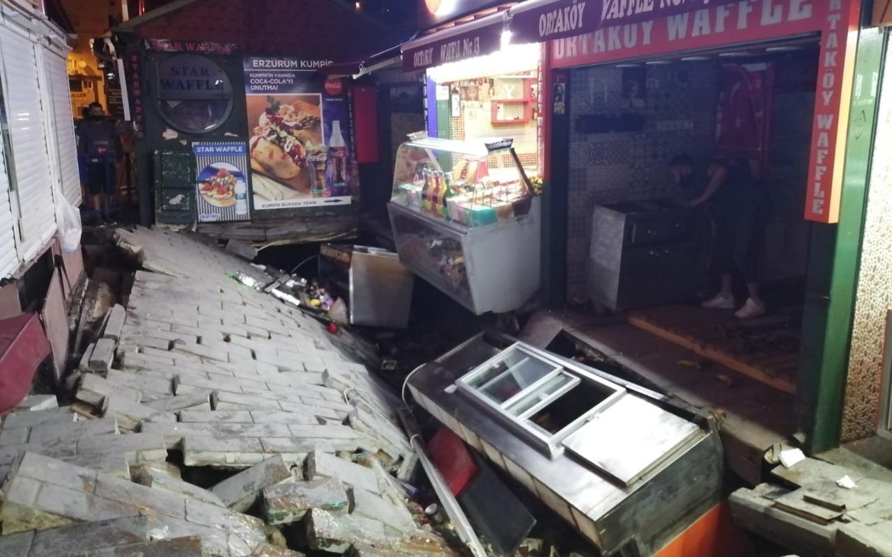 Ortaköy'de Kumpircilerin olduğu sokakta çökme: 1 yaralı