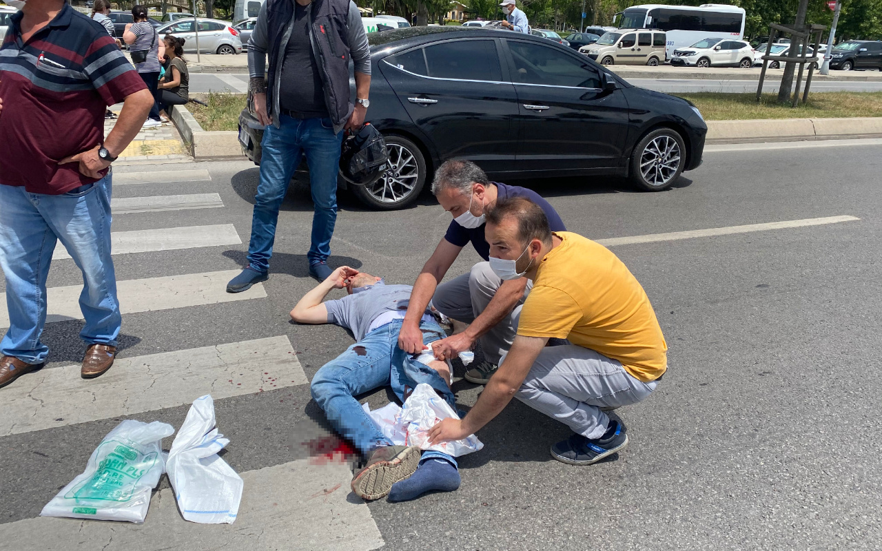 Eşi ve çocuğuyla yolun karşısına geçerken araba çarptı