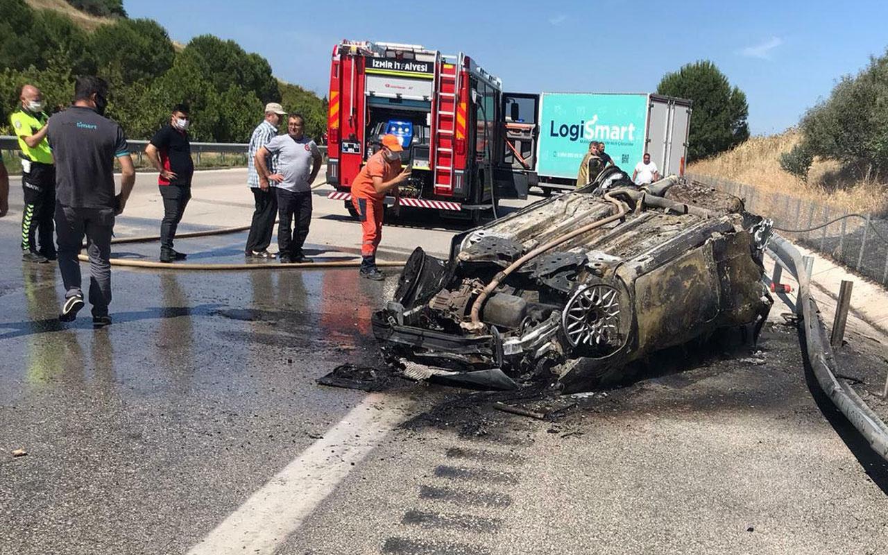 İzmir'de feci kaza takla atıp ters dönen otomobil yandı: 2 ölü, 2 yaralı