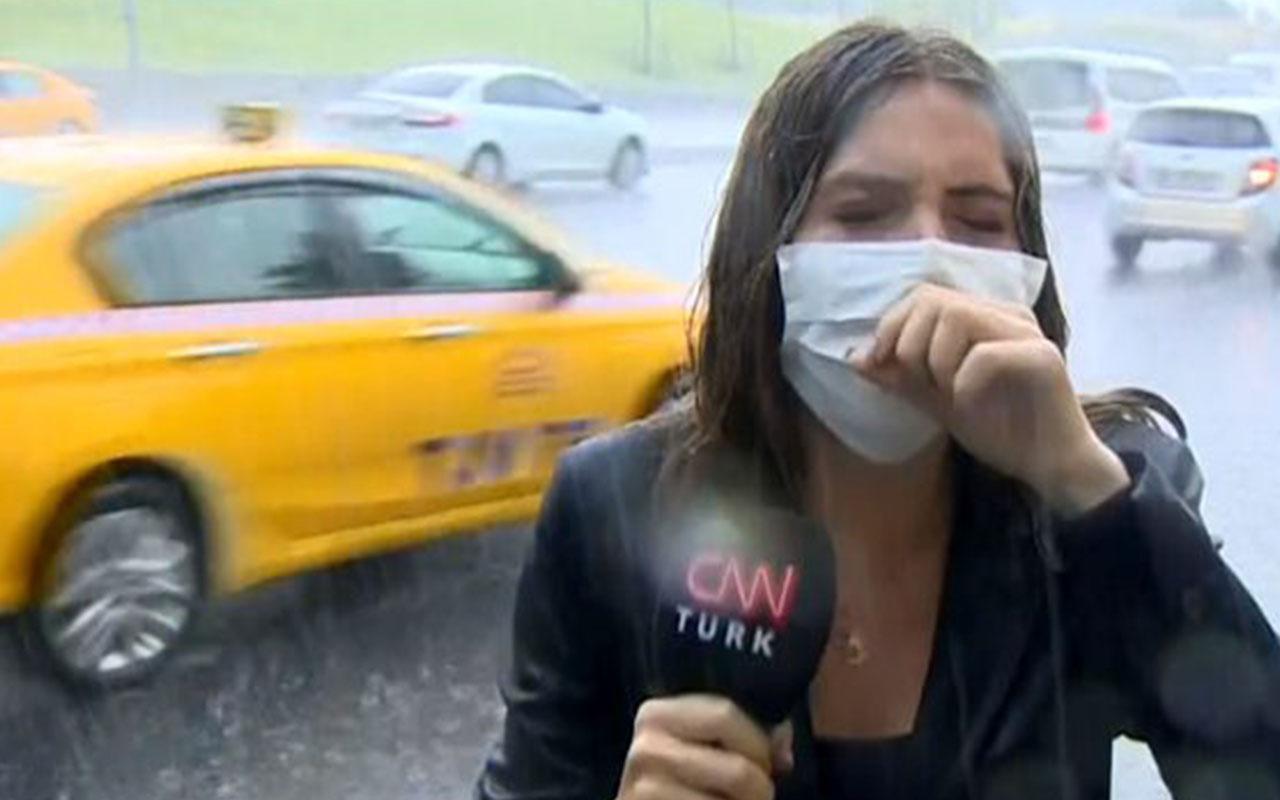 CNN Türk muhabiri canlı yayında öksürük krizine girdi sonra bakın ne yaptı