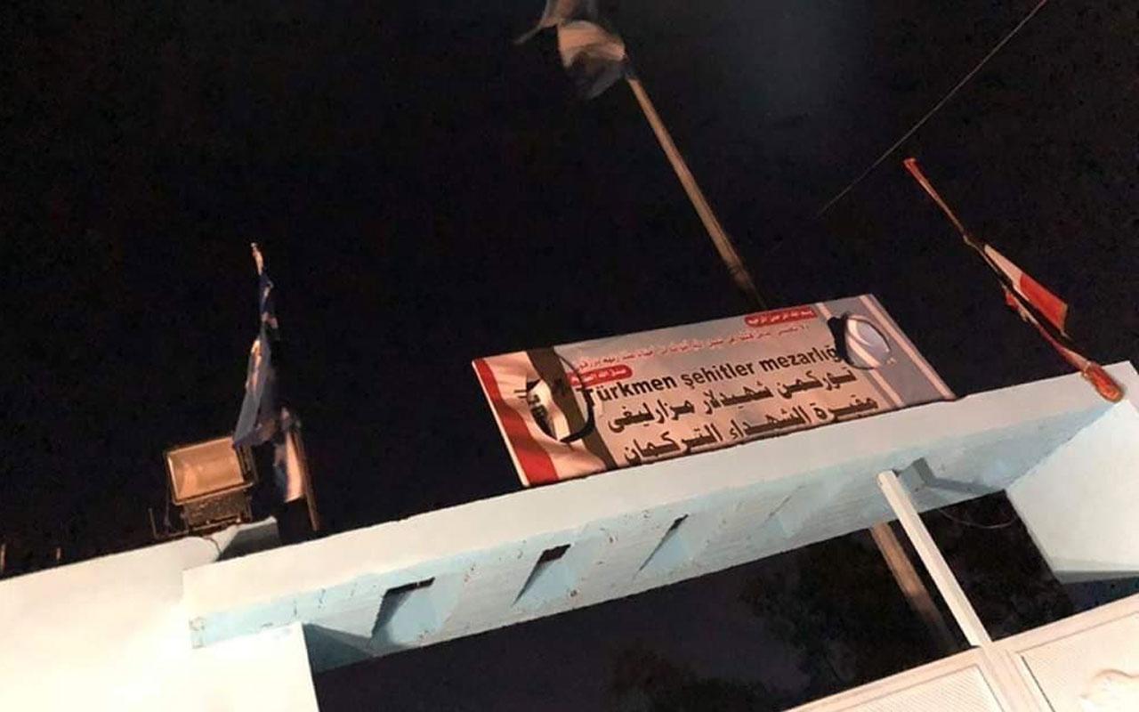 Terör örgütü PKK Kerkük'te paçavrasını astı ve Türkmen mezarlığına saldırdı