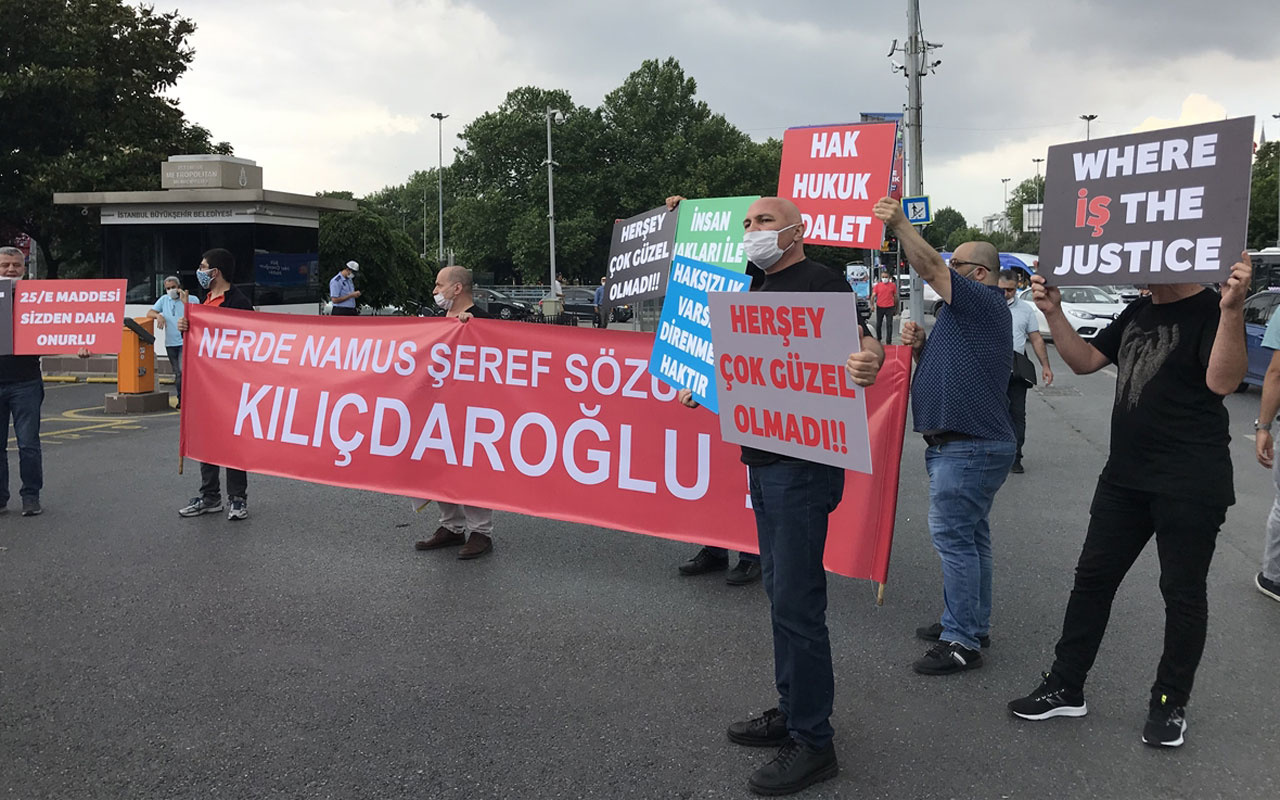 İSPARK'tan çıkartılan işçiler İBB önünde protesto gösterisi yaptı