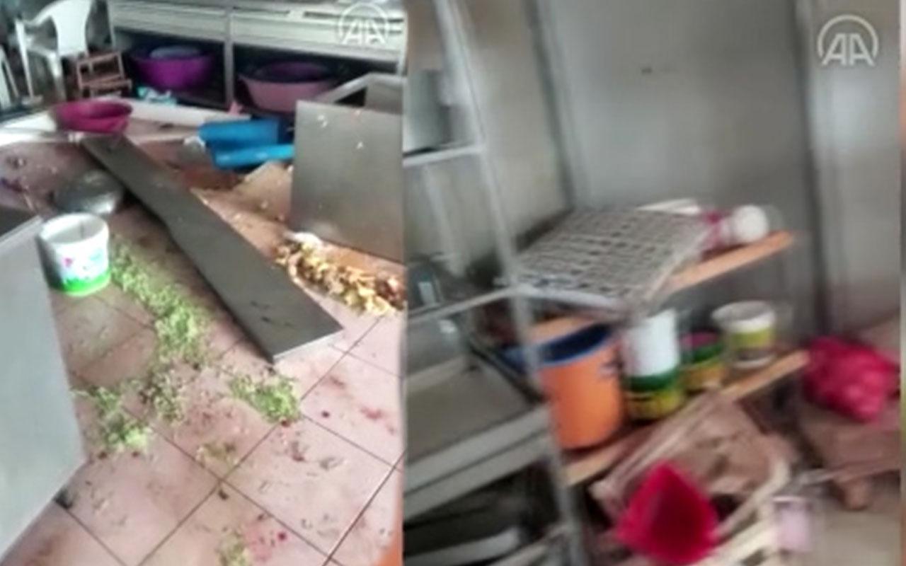 Sakarya Hendek'de Havai Fişek Fabrikasında patlamadan etkilenen bir binadan görüntüler