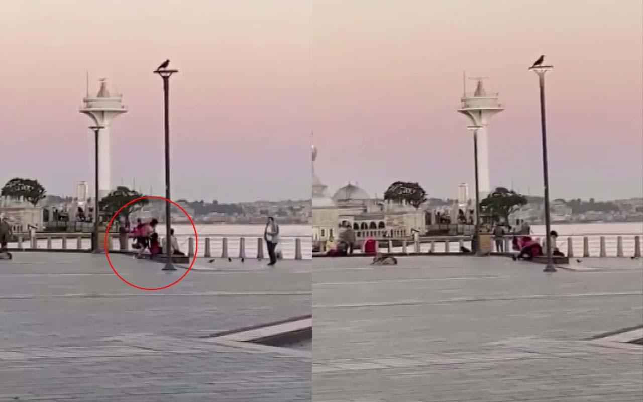 Üsküdar'da kadının erkeğe meydan dayağı çekmesi kamerada