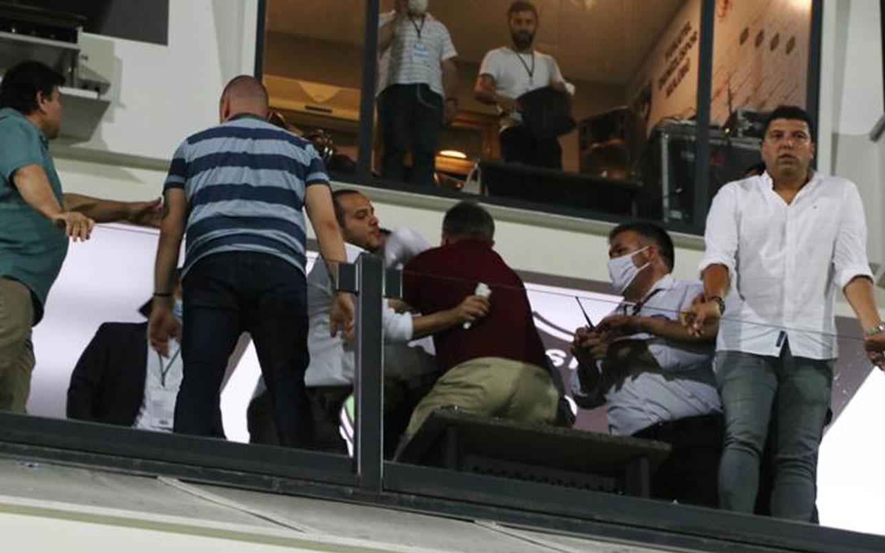 Denizlispor başkanı Ali Çetin şişe fırlattı korumalarıyla taraftara saldırdı