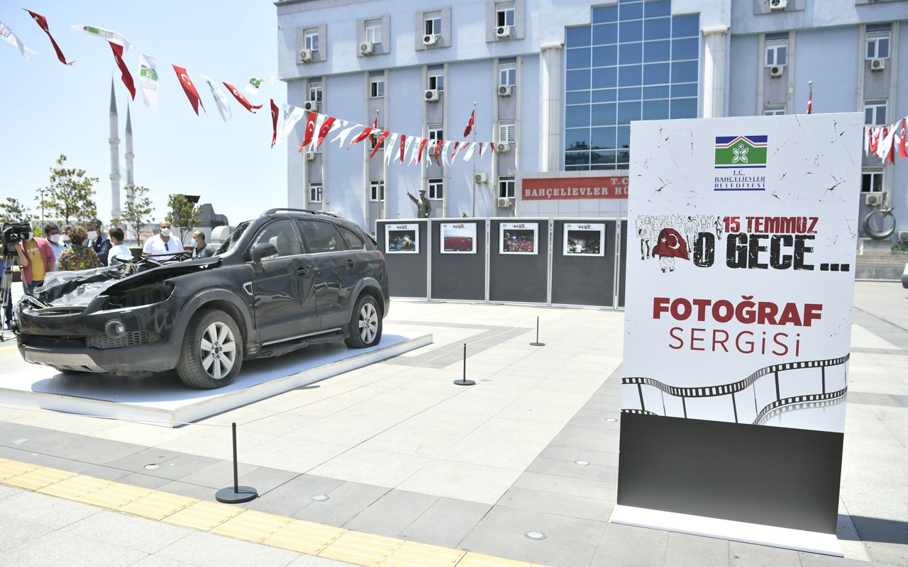 15 Temmuz'da cuntacıların tankla ezdiği otomobil Bahçelievler'de sergilendi