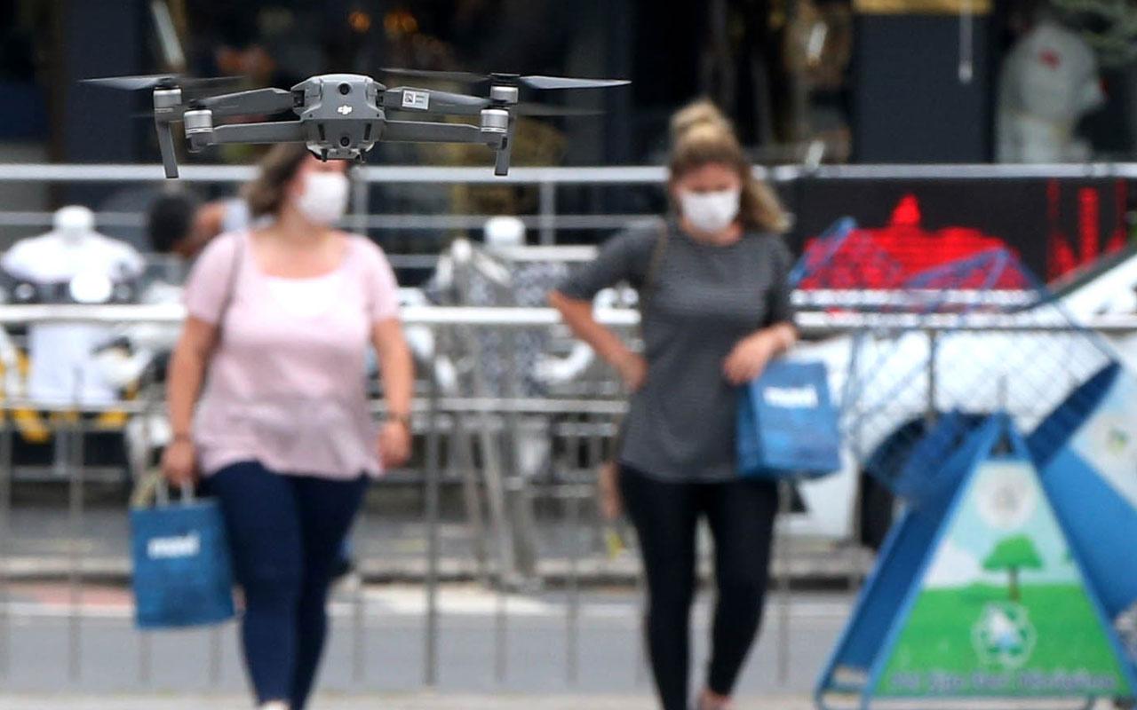 Düzce'de drone ile maske denetimi yapıldı