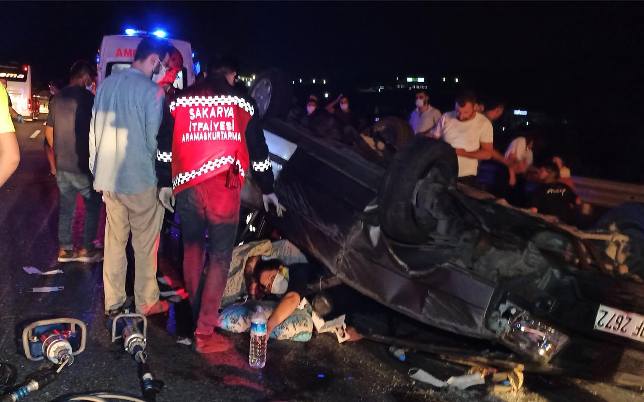TEM'de feci kaza kontrolden çıkan araç takla attı